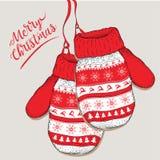 Guantes pintados Diseño de tarjeta de la Feliz Navidad Illustrationation del vector Imágenes de archivo libres de regalías