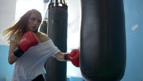 Guantes que llevan de la deportista joven en el pasillo del boxeo que bate un saco de arena metrajes