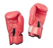 Guantes rojos para el boxeo o el boxeo de retroceso Imagen de archivo libre de regalías