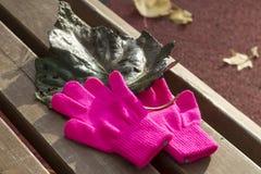 Guantes rosados hechos punto y hoja verde oscuro del otoño de un álamo Fotografía de archivo