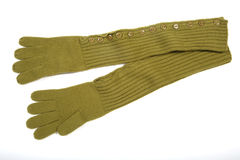 Guantes verdes del knit Imagen de archivo