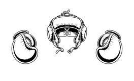 Guantes y casco de boxeo Imagen de archivo