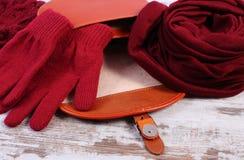 Guantes y mantón de lana con el bolso de cuero abierto para la mujer en viejo fondo de madera Fotografía de archivo libre de regalías