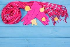 Guantes y mantón de lana para la mujer en tableros, la ropa para el otoño o el invierno, espacio de la copia para el texto Imagen de archivo libre de regalías