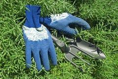 Guantes y pala y rastrillo del jardín Imagen de archivo