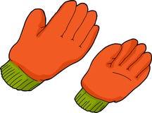 Guanti arancio del lavoro Immagini Stock