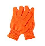 Guanti arancio del lavoro isolati sopra Fotografia Stock