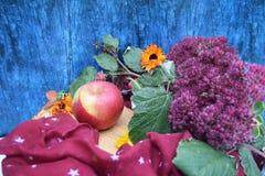 Guanti caldi di Borgogna con una sciarpa e un cappello su colore blu del fondo di legno con le foglie di autunno e tagliato un al Fotografia Stock