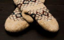 Guanti caldi lavorati a maglia Fotografia Stock