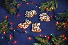 Guanti dei biscotti del pan di zenzero, stivali del feltro su fondo blu, PS Fotografie Stock Libere da Diritti