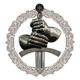 Guanti dell'armatura del cavaliere e della spada del crociato nel telaio dell'ornamento medievale illustrazione di stock