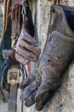 Guanti di caccia col falcone Fotografie Stock