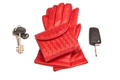 Guanti di cuoio, borsa e tasti rossi Fotografia Stock Libera da Diritti