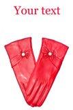 Guanti di cuoio rossi Immagine Stock