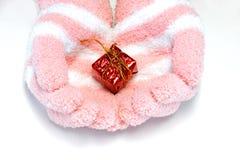 guanti disponibili del contenitore di regalo Fotografia Stock Libera da Diritti