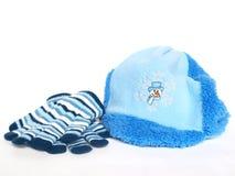 Guanti e cappello blu Fotografia Stock Libera da Diritti