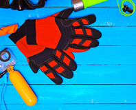 Guanti e oggetti rossi di immersione subacquea Immagini Stock
