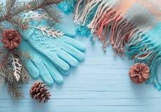 Guanti ed abete blu di Natale su fondo di legno Immagini Stock Libere da Diritti