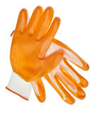 Guanti resistenti arancioni del giardino dell'acqua Fotografia Stock Libera da Diritti