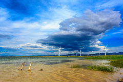 Guanting Reservoir and white clouds Hebe, Chinese  Royalty Free Stock Photo