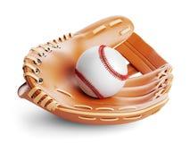 Guanto da baseball e primo piano 3D della palla immagine stock
