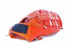 Guanto di baseball arancione isolato su priorità bassa bianca Immagini Stock Libere da Diritti