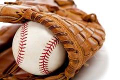 Guanto di baseball o guanto mezzo e sfera Fotografia Stock Libera da Diritti