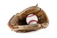 Guanto mezzo e palla del gioco di baseball Fotografie Stock