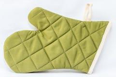 Guanto verde del forno Fotografie Stock