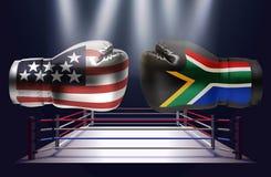Guantoni da pugile con le stampe di U.S.A. e del fac sudafricano delle bandiere illustrazione vettoriale