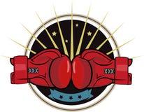 Guantoni da pugile Emblema di pugilato, etichetta, distintivo, progettazione della maglietta, pugilato, tema di lotta Immagini Stock Libere da Diritti