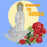 Guanyin, китайская богиня иллюстрации вектора пощады плоской Стоковые Изображения
