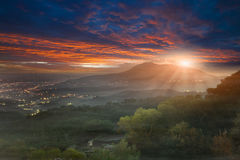 Guanyin Mountain Sunrise for background Stock Photo