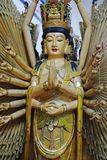 Guanyin prang thuousand handsin chinese temple. royalty free stock images