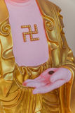 Guanyin sculpture with swastika in the Kek Lok Si Temple is a Buddhist temple in Penang. Stock Photos