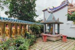Guanyin skulpterar, och den heliga relikskrin i Kek Lok Si Temple är en buddistisk tempel i Penang royaltyfria foton