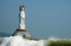 Guanyin in the South China Sea. 108 m sea view sound, in nanshan cell, also is Wan nanshan buddhist culture Stock Photo