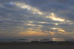 guanyinshan沙子海滩日出  库存图片