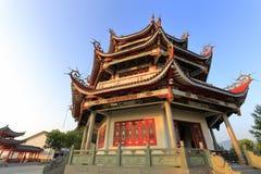 guanyinsi寺庙亭子在黎明 库存图片