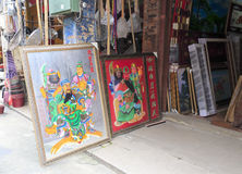 Guanyu (?-220) portrait. Guan yu portrait in craft shops, longhai city, china. chinese folk worship guanyu.  admire his loyalty. pictured guanyu and his adopted Royalty Free Stock Photos