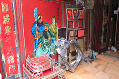 Guanyu portrait  (?-220). Guan yu portrait in craft shops, longhai city, china. chinese folk worship guanyu.  admire his loyalty. pictured guanyu and his adopted Stock Images
