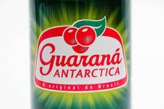 Geneva/switzerland-27.06.18 : Can of energy drink guarana antarctica. Guarana drink isolated on white royalty free stock photography