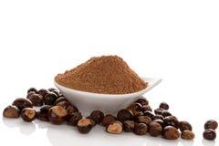 Guarana Powder with guarana seeds. royalty free stock photo
