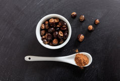 Guarana seeds and powder in porcelain bowl and spoon royalty free stock photo