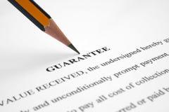 Guarantee. Close up of Guarantee form Stock Image