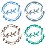 Guarantee badge isolated on white background. Flat style round label with text. Circular emblem vector illustration Stock Images