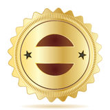 Guarantee Badge Template. Gold and brown guarantee badge template, isolated with optional shadow Stock Photo