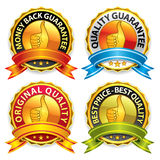 Guarantee badges with ribbon Stock Images
