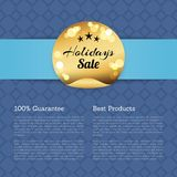 100 Guarantee Best Products Holidays Sale Poster. With golden scroll and best offer inscription vector illustration banner isolated on blue background Royalty Free Stock Photos