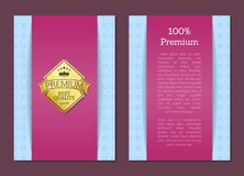 100 Guarantee Certificate Premium Quality Label. 100 guarantee certificate premium best quality golden label poster with gold stamp vector on purple and blue Royalty Free Stock Photos